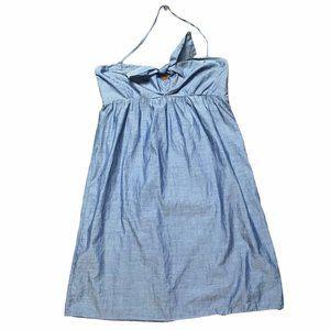 J. Crew Chambray Blue Tie Bust Halter Mini Dress M